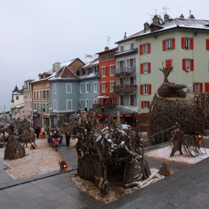 Evian was full of the wooden animal sculptures