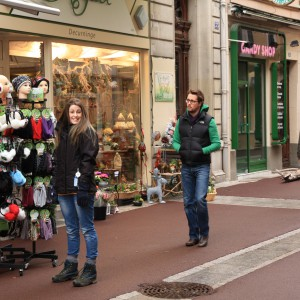 Caroline and Jonathan shopping in Evian