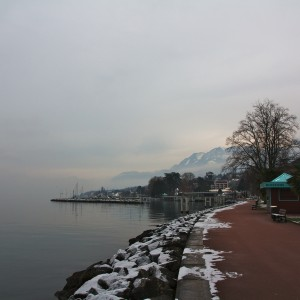 It was a gloomy day in Evian, but the views were quite nice.