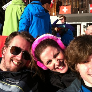 Jonathan, Caroline and Matthew enjoying the sun before an afternoon of skiing in Chappelle d'Abondance.