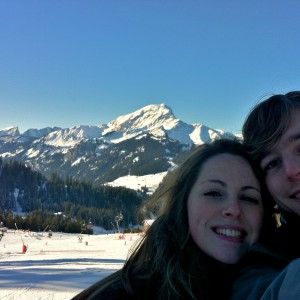 Matthew and Caroline, enjoying the views at Super Châtel
