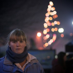 Verity in Thollon, with a Christmas tree.