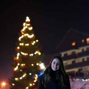 Caroline with the Christmas tree in Thollon.
