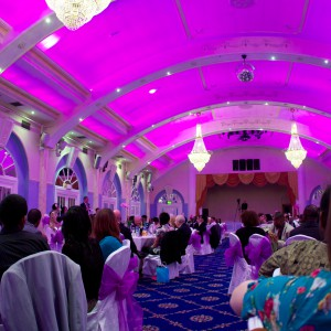 The dining hall was beautiful in pink.