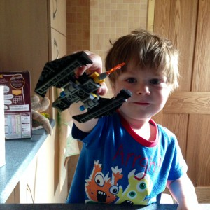 Oscar's first real lego model. Batman's Batwing