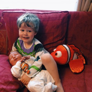 Oscar still loves having cuddles with Joshua. He found Little Nemo for Joshua to cuddle
