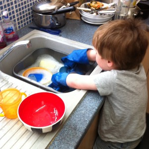 Oscar's been doing the washing up! X