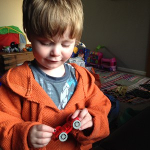 Oscar's first solo lego model. He put the steering wheel on the kart with no instructions or suggestion! :o