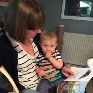 Finlay reading to Mummy ;-)