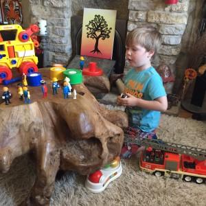 Oscar loves all Angela's toys!