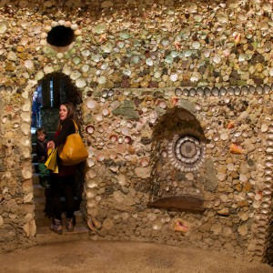 Scott's Grotto's walls are covered in seashells.